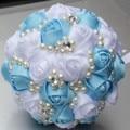 You Custom Satin Pearls Flower Diamond Wedding Bouquet Bride Holding Blue White Bridal Decorative Artificial Bridal Bouquet W274