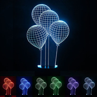 USB Powered Balloon 3D Night Light LED Desk Lamp Novelty Lights Touch Key Decoration Atmosphere Light Use Home Party Holiday