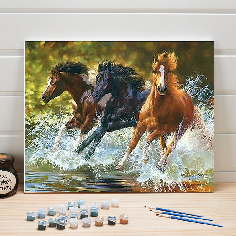 Paint Oil Painting By Numbers Animals Horses Acrylic Coloring Art On Canvas DIY Wall Picture For Living Room Adult Woman Drawing