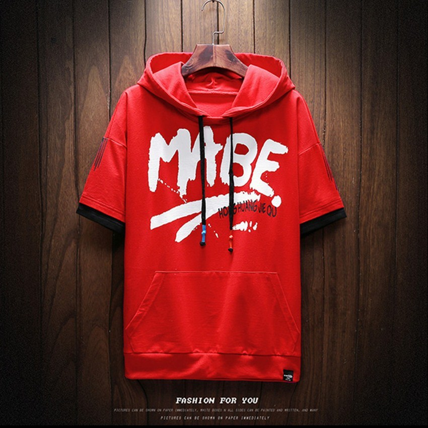 2018 Summer New Letter Printed Cuffs Stitching Mens Hoodie Fashion Casual Street Walk Short Sleeve Men Hoodies Sweatshirts