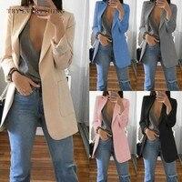 Black Women Blazers And Jackets Pink Blazer Women Long Sleeve Ladies Blazer Long Blazer Women Grey Casual Woman Blazer 2019