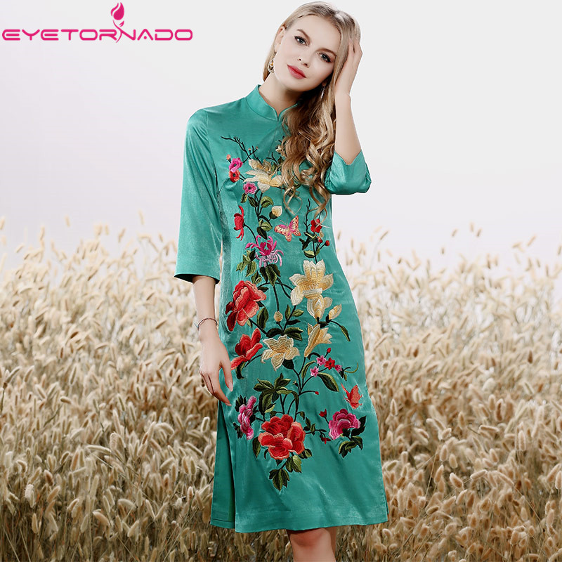 Pour Vintage Style E7877 Femmes De Pink Cheongsam Travail Fête Grande Chinois green Moulante Fleur Taille Boho Broderie Robe Sexy a7yzqEw