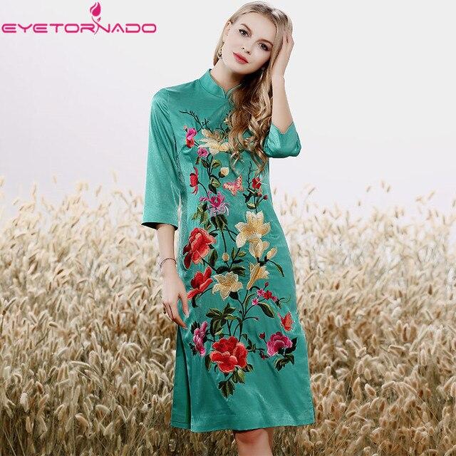 2e0c29a2035 Plus size chinese style flower embroidery bodycon cheongsam dress women  sexy vintage work party dresses vestido boho E7877