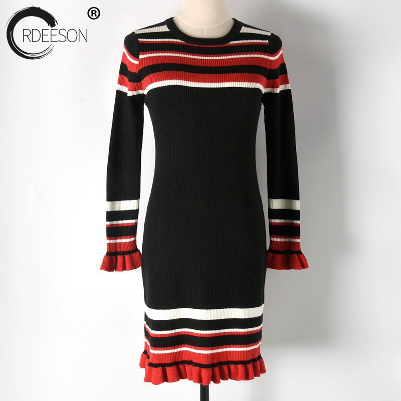 Jumper Rayé Robe Pulls Manches Et Black À Col Robes Tricoter Rond Ordeeson D'hiver Femmes Pull pink Longues Ruches Chandails Casual OxwzOId