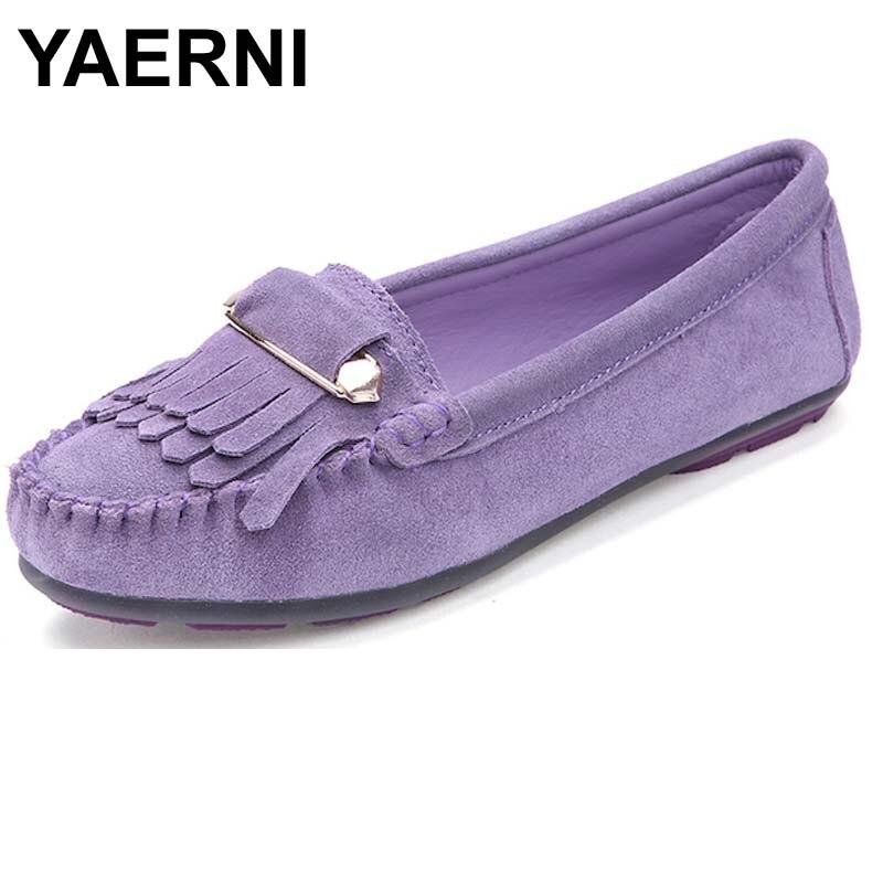 YAERNI Women ballet flats Shoes suede leather Tassel safety pins Buckle Ladies moccasins ballerina non-slip Gray purple