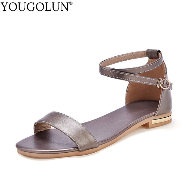 589cedb64f9a YOUGOLUN Women Flat Sandals New Summer Genuine Leather Casual Ladies Metal  Decoration Gold Black White Ankle