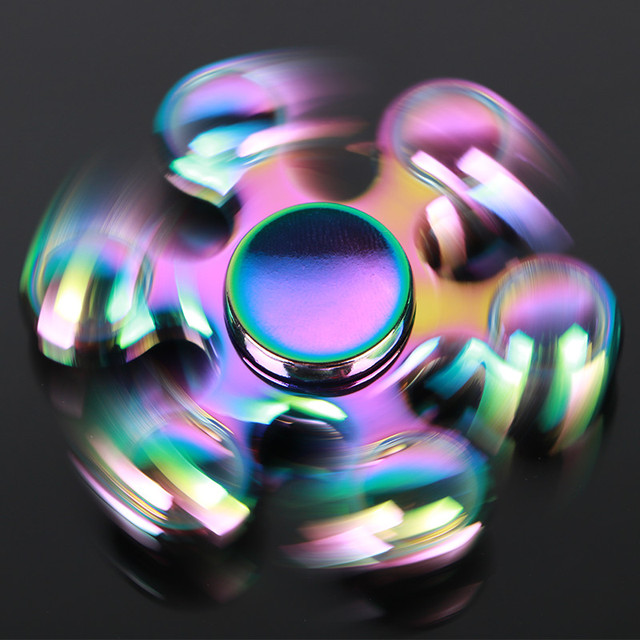 Colorful Six bead Hand spinners Metal Fidget Spinner For Autism and ADHD Kids Spiner  Tri Finger Toy Fidget stress