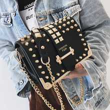 FuAhaLu luxury handbags women bags designer rivet chains messenger fashion solid crossbody for