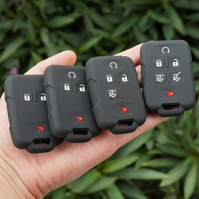 Silicon Rubber Remote Key Fob Cover Sticker Holder Protect For Gmc Yukon Sierra Canyon Terrain Acadia