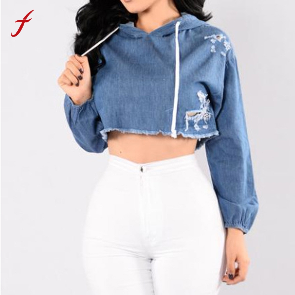Casual Hoodie Sweatshirt Women Long Sleeve Jean Hoodie Hole Sweatshirt Tees Girls Hooded Pullover Casual Tops Womens Cloth
