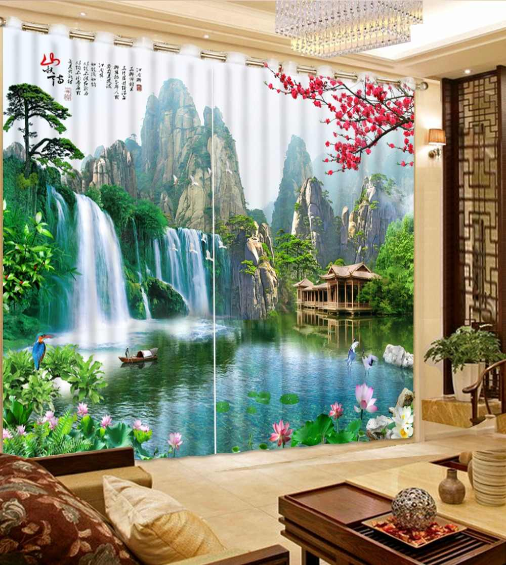 custom 3d modern curtains for living room curtains Landscape scenery wonderland 3d curtains for living room blackout curtains