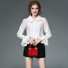 Women Clothing Women Blouses White Black Blusas Autumn Bowknot Lace Fold A Shirt Women Tops And