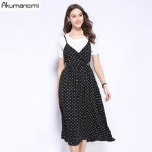 Two Piece Set Plus Size Summer 2019 new Suits White Short Sleeve Tshirt Dot Vest Sling Dress Free Shipping Ensemble Deux Pièces(China)