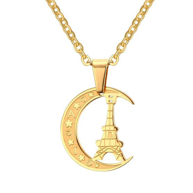 Eiffel tower pendant necklace quality gold color stainless steel eiffel tower pendant necklace quality gold color stainless steel love necklace for men and women aloadofball Images