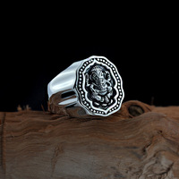 Elephant Nose God Opening Male Ring Thai Silver Retro Do Old National Style S925 Pure Silver God Elephant Ring
