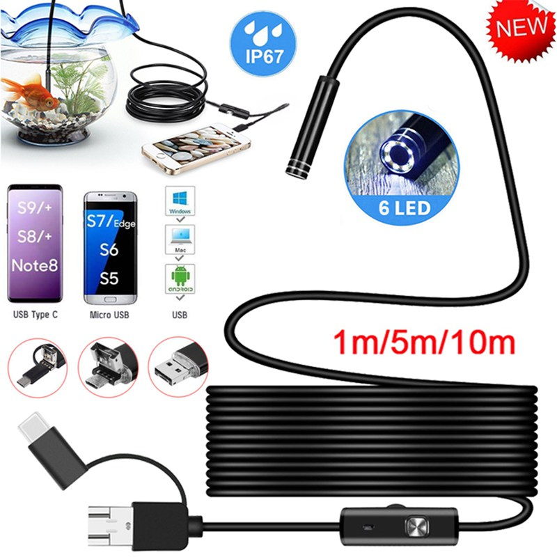 Image 2 - VicTsing 5m 7mm Endoscope Camera Wifi 3 in 1 Android Type C USB Borescope 6 LED Snake Camera For Mac OS Windows Car Repair Tools