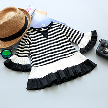 New 2017 Autumn Flare sleeve girls princess dress casual baby costume kids girls clothes outwear Tiered Popular girls dresses