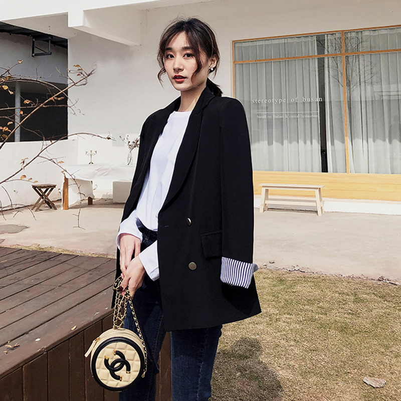 Fashion Double Breasted Black Women Blazer Striped Sleeve Notched Casual Female Blazer Women Jacket 2019 Autumn Outerwear Coats