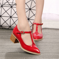 Women Genuine Leather Patent Red Oxford Sandals Summer Shoes Women Handmade 5cm Vintage Round Toe Thick