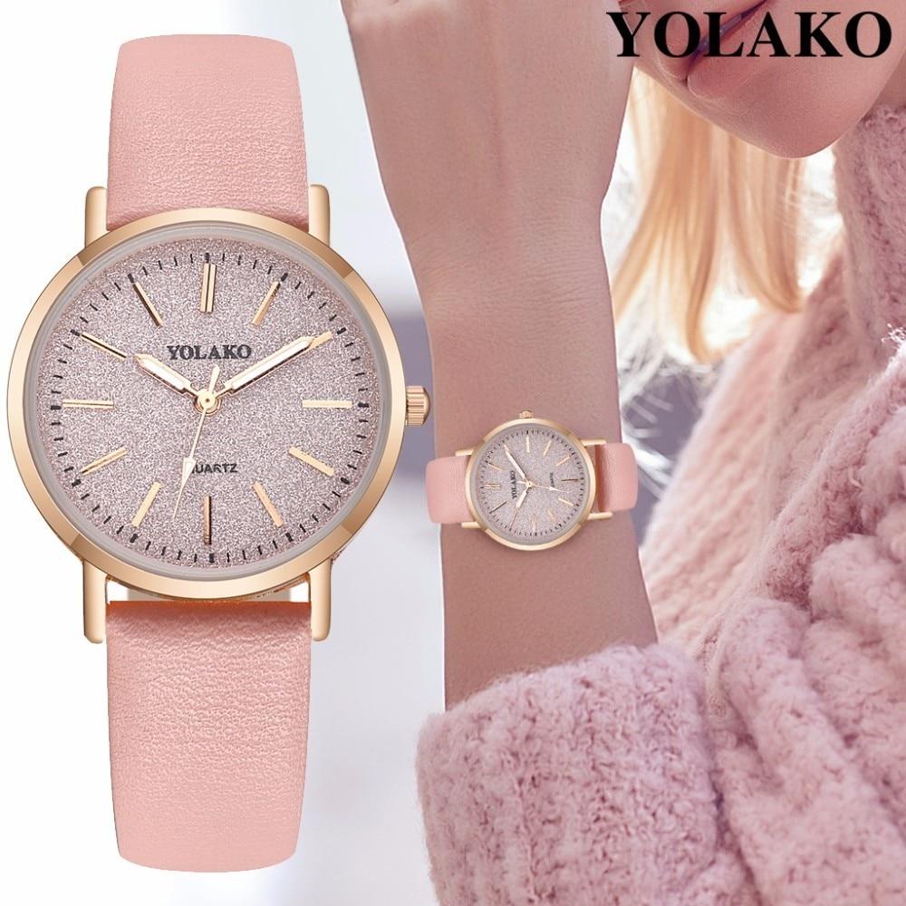 YOLAKO Brand Fashion Women Romantic Starry Sky Wrist Watch Casual Luxury Leather Rhinestone Watches Clock Relogio Feminino