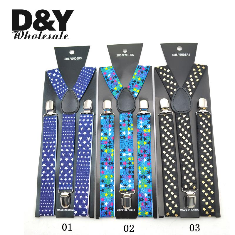New 2.5cm Wide Fashion 12 Galaxy Star Suspender Men`s Unisex Clip-on Braces Elastic Slim Y-Back Suspenders Free Shipping