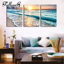 FULLCANG diy 5d diamond embroidery summer sunset surf landscape triptych painting 3pcs/set full square/round drill decor FC775