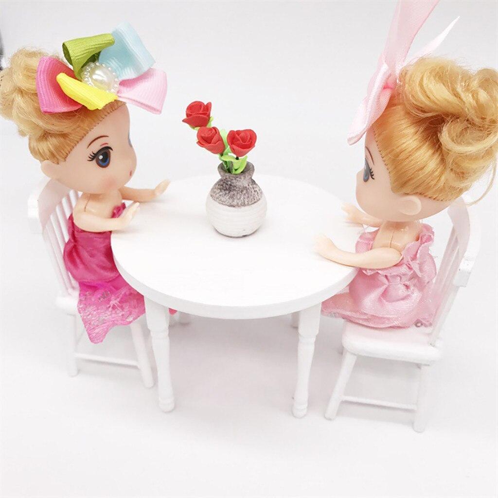 1:12 Dollhouse Miniature Furniture White Color Round Dining Table Chair Set Kitchen Dollhouse decoration Kids Toy Miniature C604