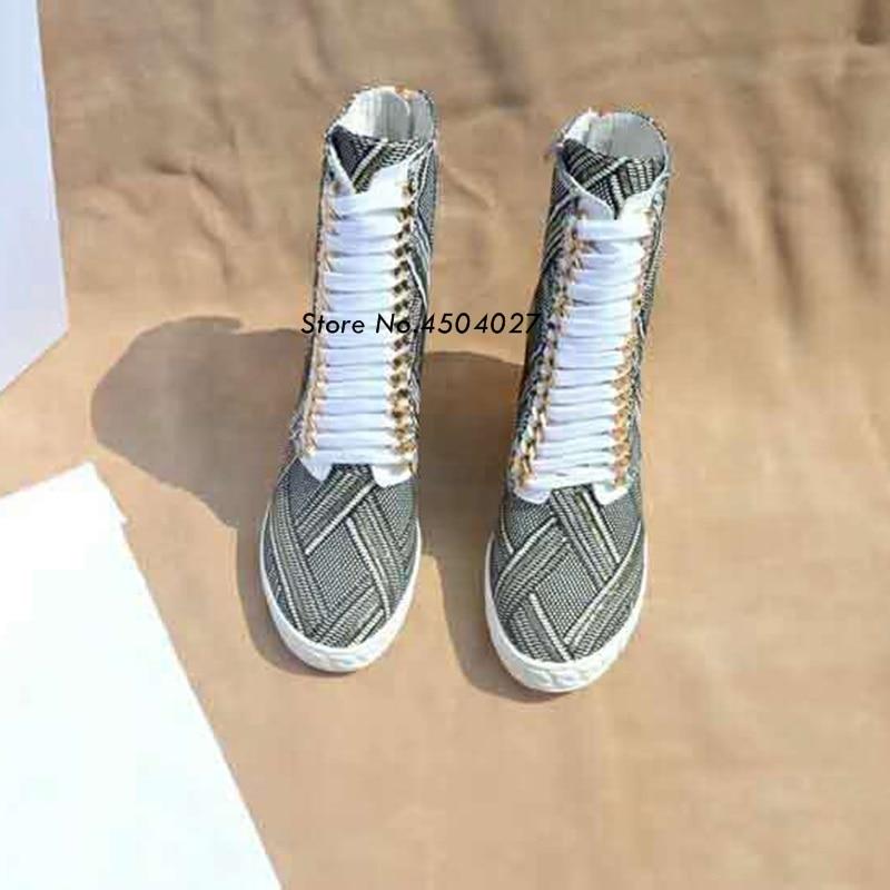 As Printemps Cheville Caché Bottes Chaîne Date Coins Chaussures Or forme À Femme Lacets Plate Picture Pour Talon Femmes adwffAq