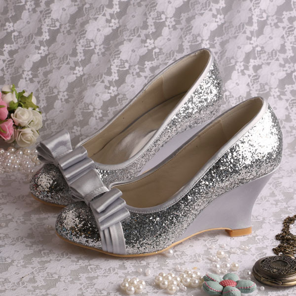 Wedopus Silver Glitter Closed Toe Wedge Shoes Wedding Bow Pumps Dropshipping In Women S From On Aliexpress Alibaba Group