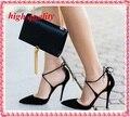 2015 nueva marca mujeres de tiras tacones bombas atractivas recortes Women Shoes con cordones tacones altos para mujer señalaron Toe zapatos de vestir Y585