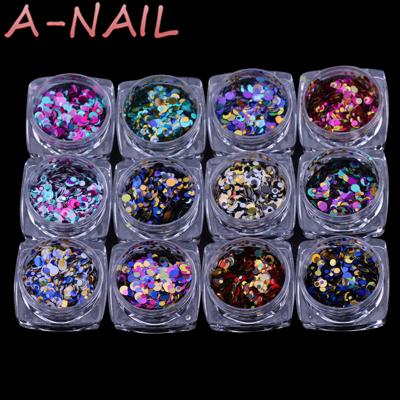 12jars/set Laser color Nail Art Glitter ROUND Shapes Confetti Sequins Acrylic Tips UV Gel BL Style Sale Shiny Ultrathin Sequins rhombus style 12 in 1 decorative nail art laser sequins set multicolored