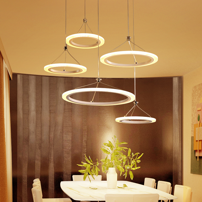 New Modern pendant lights for living room dining room 5/3 Circle Rings acrylic LED pendant Lamp suspension luminaire modern circle rings pendant lights fixture living dining room restaurant deco indoor home acrylic hanglamp dimming luminaire