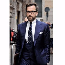 Classic Style Two Button Navy Blue Groom Tuxedos Groomsmen Men's Wedding Prom Suits Bridegroom (Jacket+Pants+Vest+Tie) K:956