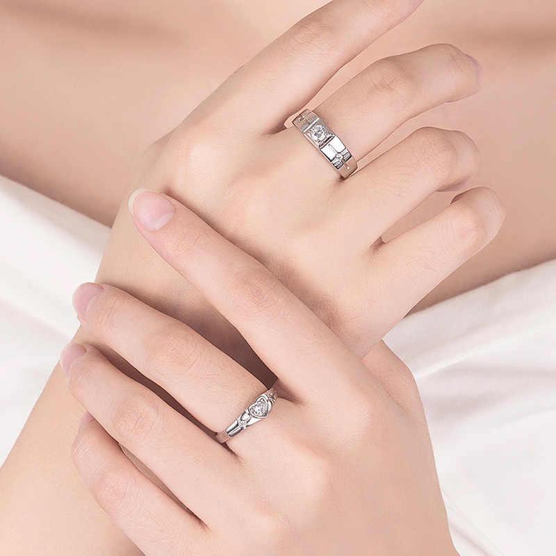 絶妙な 925 スターリングシルバー愛のハートリング女性男性クラシック AAA ジルコニア婚約結婚式のカップルリングの宝石類のギフト