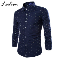 LeeLion 2017 Autumn Anchor Print Brand Shirt Men Cotton Long Sleeve Slim Fit Fashion Casual Men