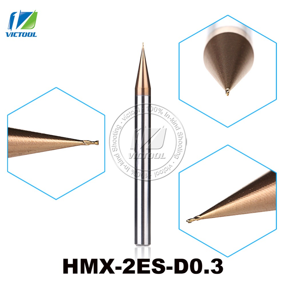 2PCS/Lot HMX-2ES-D0.3 Cemented Carbide 2-Flute Flattened End Mills Cutter End Mills Straight Shank Tiny Diameter Cutting Tools zcc ct hm hmx 6el d16 0 solid carbide 6 flute flattened end mills with straight shank and long cutting edge