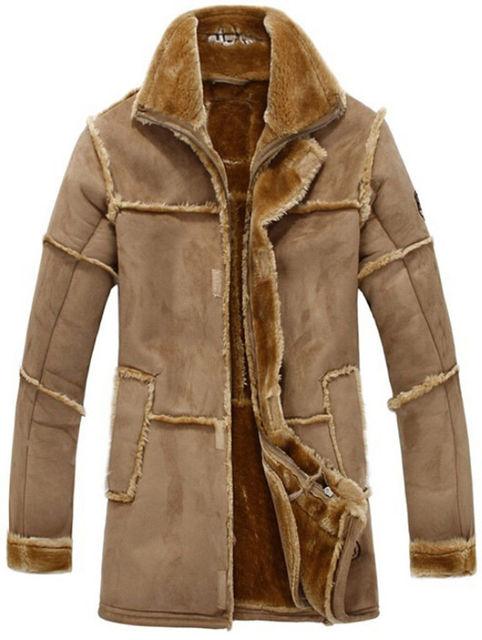 177b9c24f1177c Hot New Brand Men Faux Fur Coat Long Jacket Outerwear Winter Warm Luxury  Overcoat Fur Lining Fashion Coat Parka