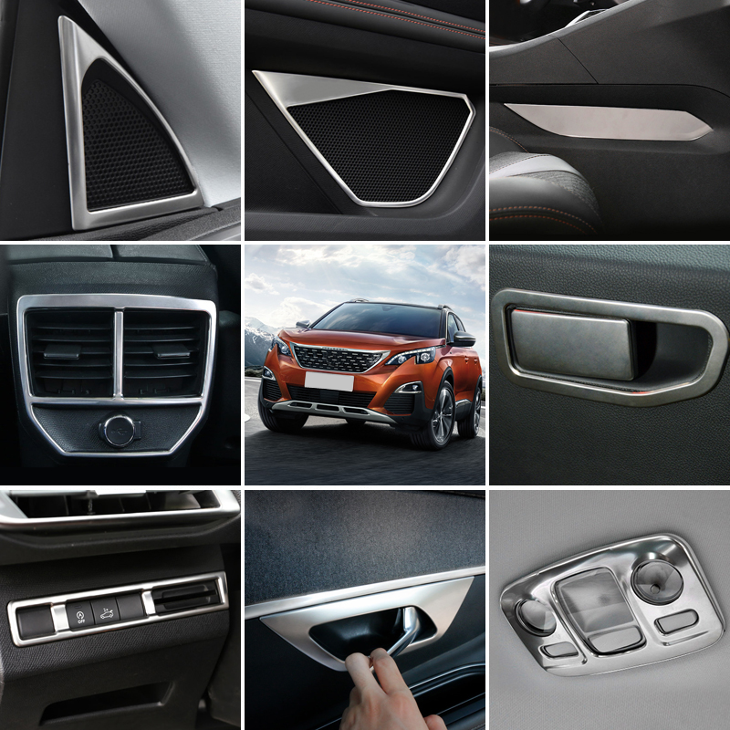 Left Hand Drive! For Peugeot 3008 3008 GT 2017 2018 Stainless Steel Interior Accessories Cover Decoration Trim 28pcs Car Styling