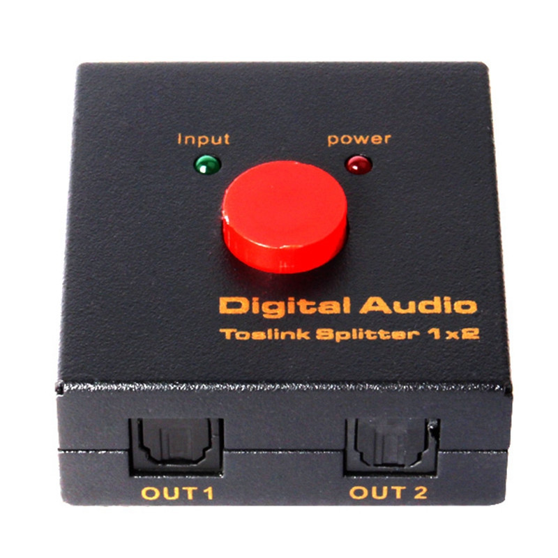 2016 New TosLink Splitter 1 in 2 out Toslink Digital Optical Audio Splitter Adapter Free shipping