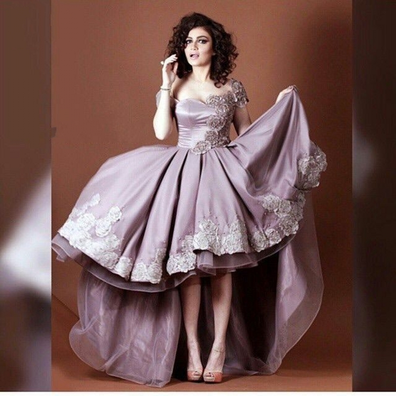 07adc8f9a78e4 Dusty Pink Satin High Low Short Prom Cocktail Dresses Cap Sleeves ...
