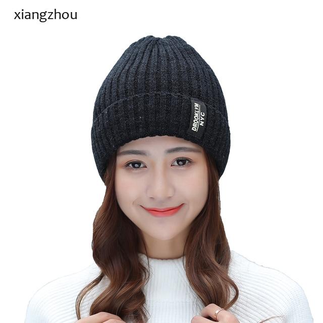 021b1079e18 Winter Hat Knitted Mens Hats Winter Cap 2017 Women Casual Solid Thick Warm  Plus Velvet Beanie Cap skullies beanies for men women
