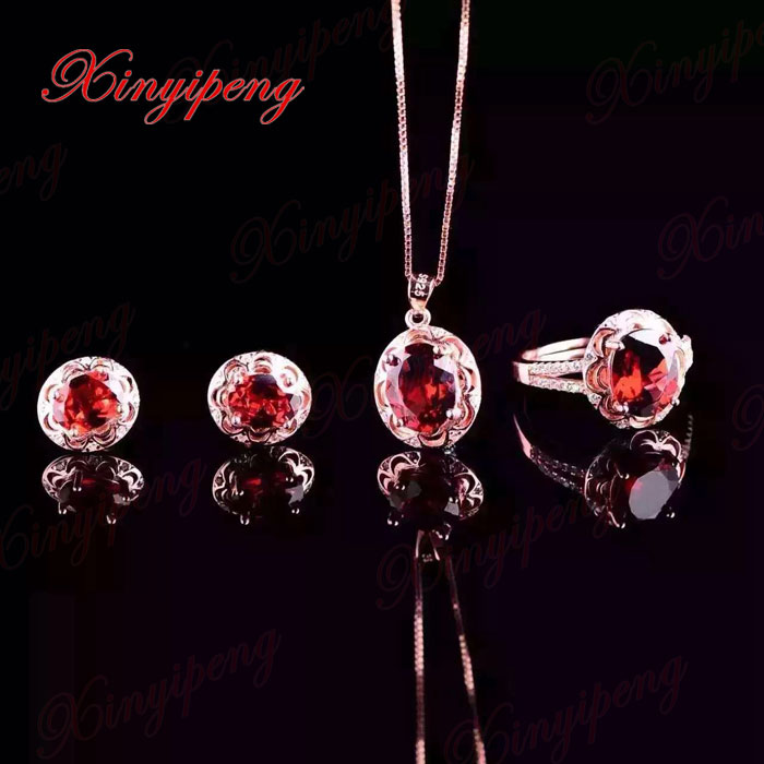 925 silver inlaid 100% natural garnet jewelry suit Ms. Ring necklace pendant earrings fashion gift