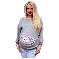 Fashion New Long Sleeve Baby Girl Print Maternity Casual Pullovers Shirt For Pregnant Women Winter Autumn
