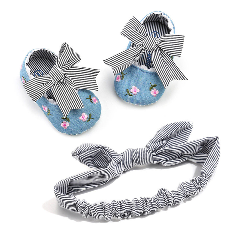 NEW Baby Shoes Headband Newborn Girls Soft Soled Princess Crib Shoes Prewalker