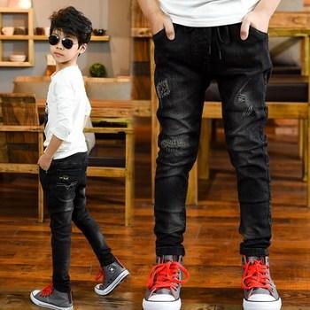 Chłopięce spodnie 4-13T dziecięce bawełniane długie spodnie dziecięce kreskówki jesienne ciepłe spodnie nastoletnie dżinsy chłopięce znosić spodnie typu casual jeans tanie i dobre opinie Na co dzień Pasuje prawda na wymiar weź swój normalny rozmiar MCP053 Elastyczny pas Chłopcy Cartoon Proste Medium Children