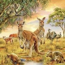 5d Diy Diamond Painting Cross Stitch Golden Lily Diamond Embroidery animal kangaroo Square Diamond Mosaic Needlework LXQ145