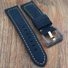 Azul Hecho A Mano de la correa, 22mm/24mm/26mm correa de cuero genuino Con El corchete tallado entrega rápida