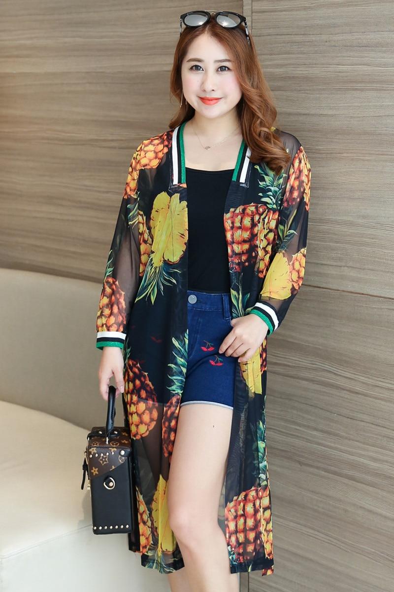 MINSUNDA grande taille décontracté côtelé garniture ananas imprimé maille Kimono d'été hauts femmes à manches longues longue vacances Blouse