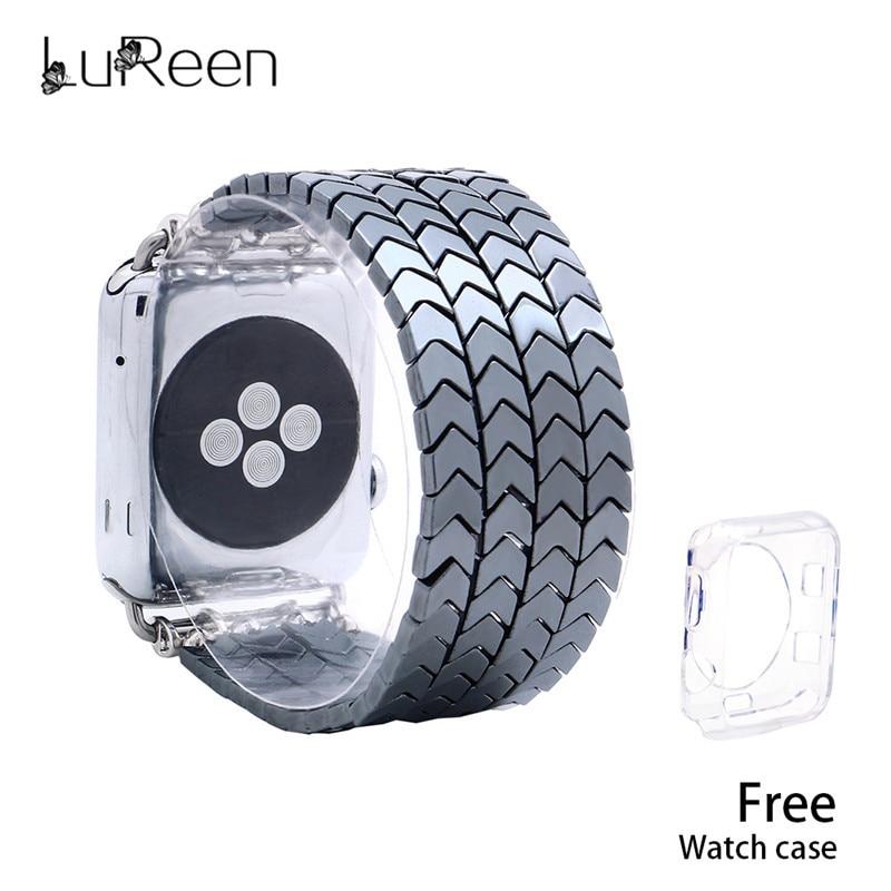 LuReen Hematite Beads Apple Watch Strap V Shape Watchband For IWatch Men Women 38mm/42mm Elastic Bracelet Replacement Wrist Band