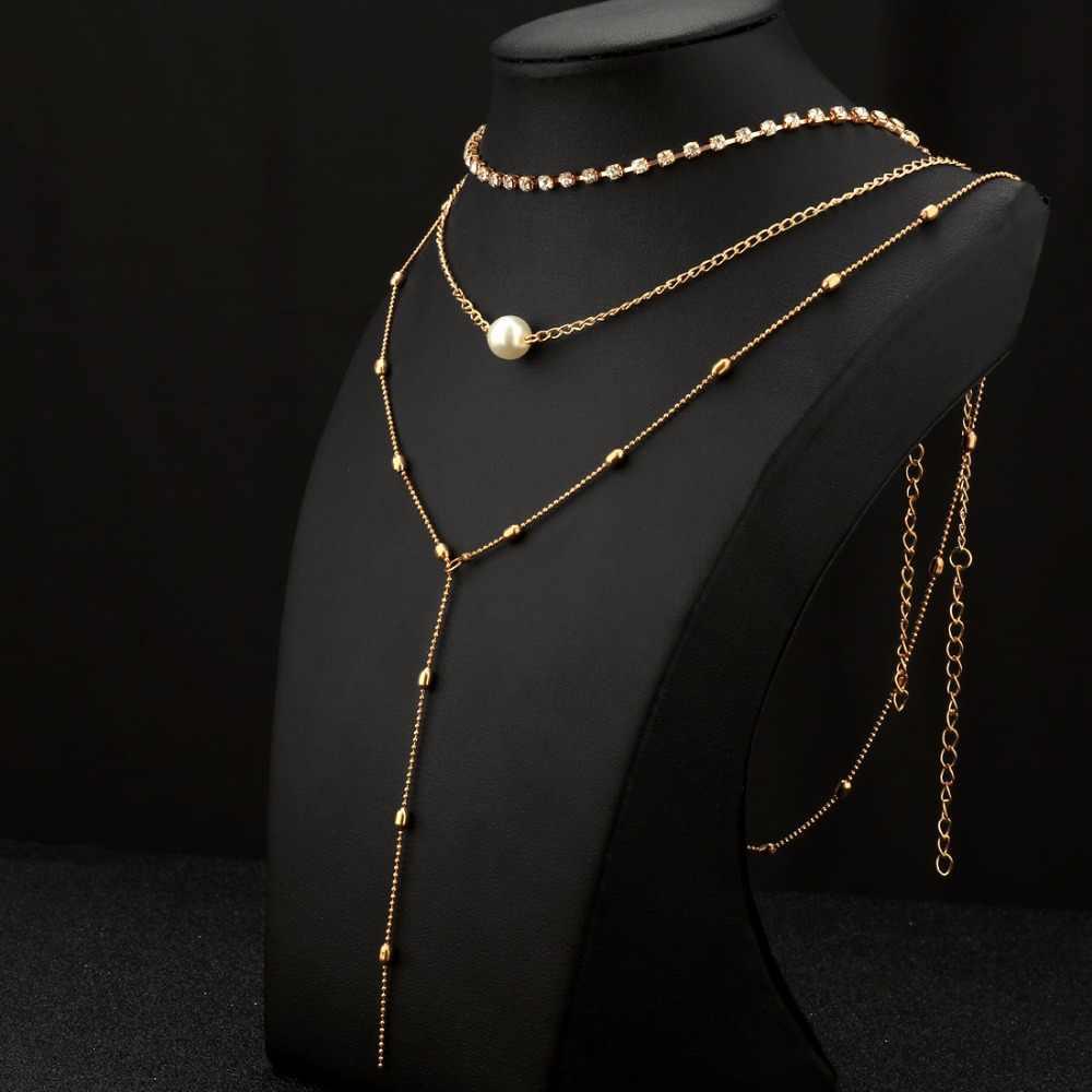 แฟชั่นสีทองคริสตัลหลายพู่สร้อยคอไข่มุกลูกปัดเค้นคอ Feather จี้สร้อยคอสำหรับผู้หญิง Bijoux